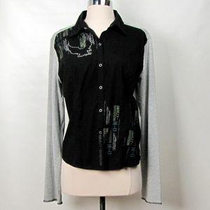 Harley Davidson Black and Grey Snap Front Shirt XL